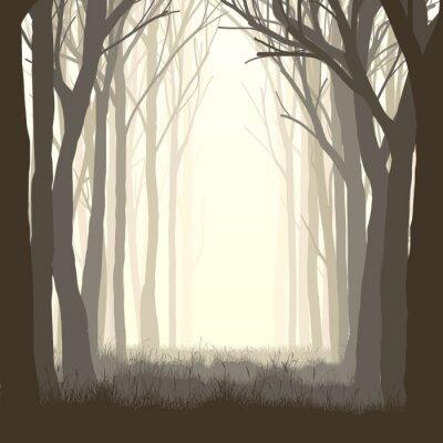 Nálepka Square ilustrace paseka v lese.