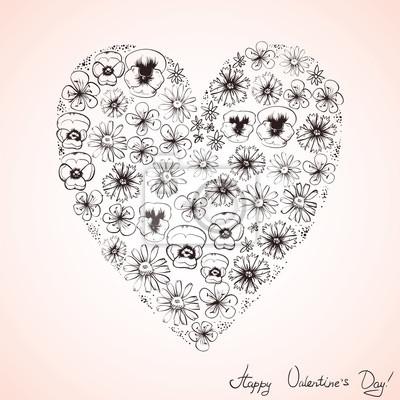 Srdce květy, valentinky, skica