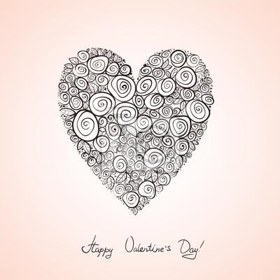 Srdce z růží, skica