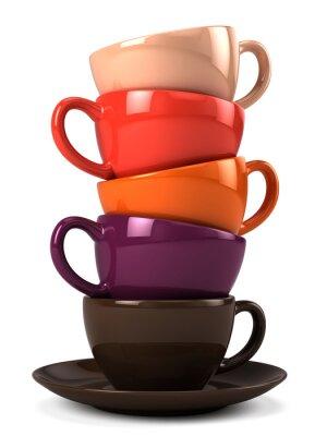 Nálepka Stack šálky kávy na bílém
