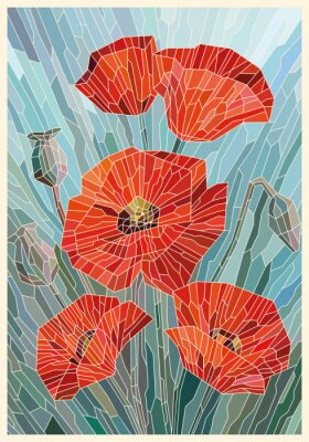 Nálepka Stained Glass Flowers Poppies on a gray turquoise background. Light lines. Vector full color graphics