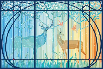 Nálepka Stained glass pair of deer in the spring forest in Art Nouveau frame. Vector graphics