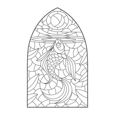 Nálepka stained glass window with goldfish , vector graphic to design