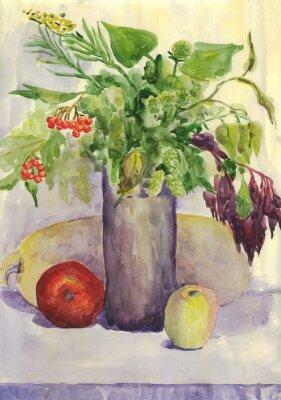 Nálepka Stálý život. Kytice, Apple, cuketa, Rowan. akvarelu