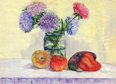 Nálepka Stálý život. Kytice z astry, jablka, papriky, lilek. akvarelu