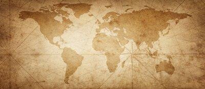 Nálepka Stará mapa světa na pozadí starého pergamenu. Prastarý styl. Prvky tohoto obrázku Zařízeno NASA.