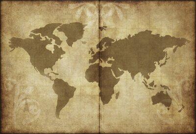 Nálepka stará mapa světa pergamen