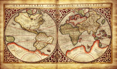 Nálepka Stará mapa světa, vytištěné v roce 1587