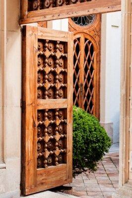 Nálepka Staré dřevěné dveře