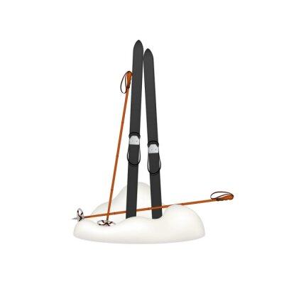 Nálepka Staré dřevěné lyže a staré lyžařské hůlky stojí ve sněhu