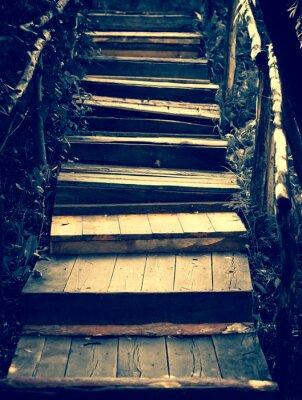 Nálepka Staré dřevěné schody