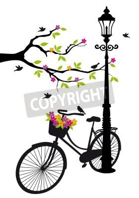 Nálepka staré kolo s lampou, květinami a strom