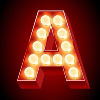 Nálepka Staré lampy abeceda pro lehké desky. Písmeno A