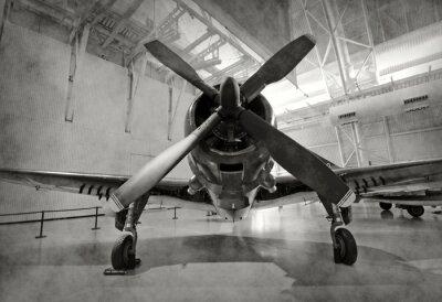 Nálepka Staré letadlo v hangáru