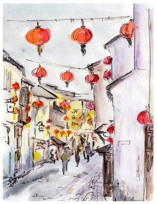 Nálepka Staré město ulice v Číně, tradiční čínské červené lucerny