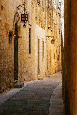 Nálepka Starověké úzké maltese ulice v Mdina