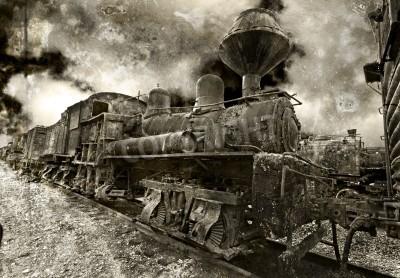 Nálepka Starý rezavění vintage parní lokomotiva