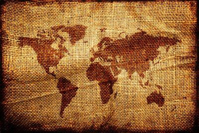 Nálepka Starý svět map na hesian pytel textury