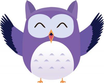 Nálepka Šťastný roztomilý vektor fialová sova