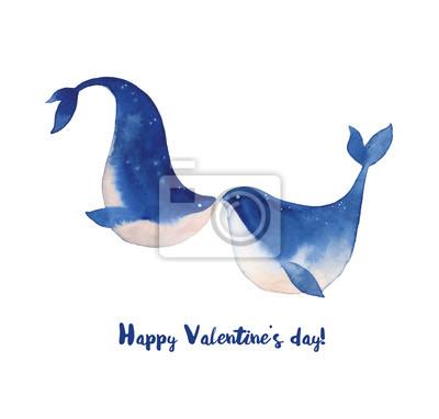 Šťastný Valentýn karta s výhledem na moře velryb v lásce. Hand drawn líbání pod vodou zvířat v kresleném stylu. Dovolená pozdrav designu