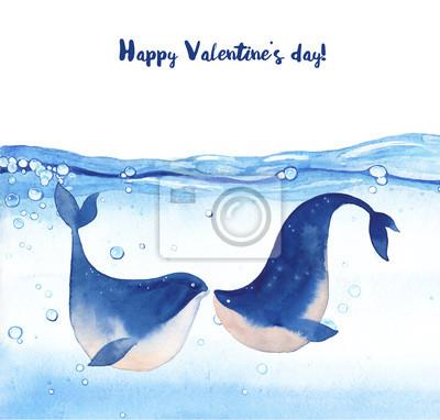Šťastný Valentýn karta s výhledem na moře velryb v lásce. Ruční tažené velryby líbání pod vodou. Dovolená pozdrav designu