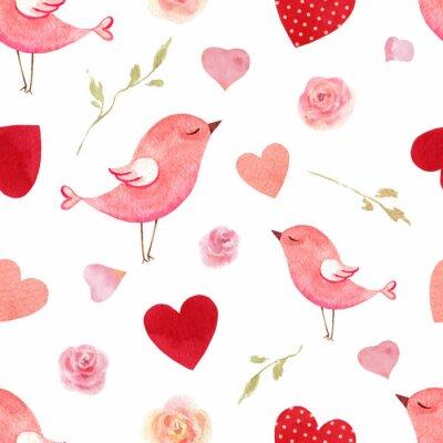 Nálepka Šťastný Valentýna akvarel vektor bezešvé vzor.