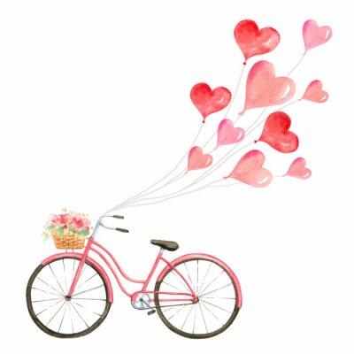 Nálepka Šťastný Valentýna akvarel vektorové ilustrace.