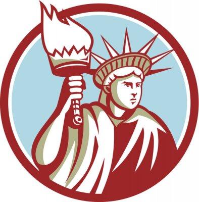 Nálepka Statue of Liberty drží hořící pochodeň Circle Retro