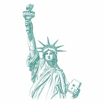 Nálepka Statue of Liberty engraving style illustration. Engraved style drawing. Vector.