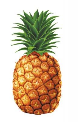Nálepka šťavnaté čerstvé kapky vody ananasu na bílém pozadí