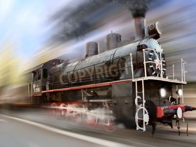 Nálepka steam engine, locomotive in motion blur