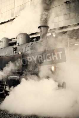 Nálepka Steam locomotive at the railway station wrapped up in cloud - vintage retro tinting