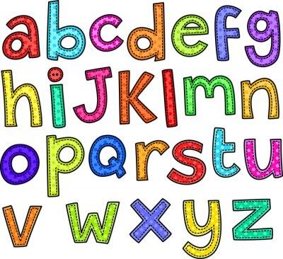Nálepka Steh styl doodle nastavit ručně tažené abecedy.