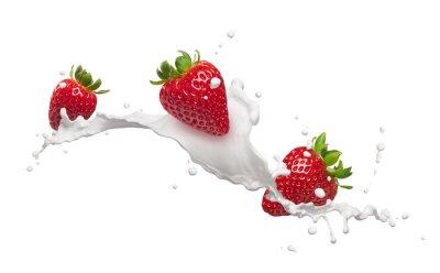 Nálepka strawberries with milk splash