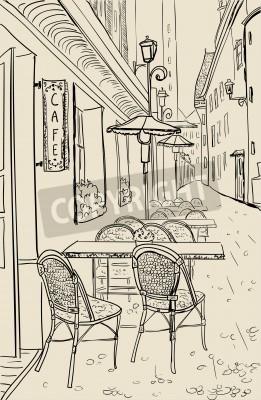Nálepka Street cafe ve Starém Městě náčrtu ilustrace.