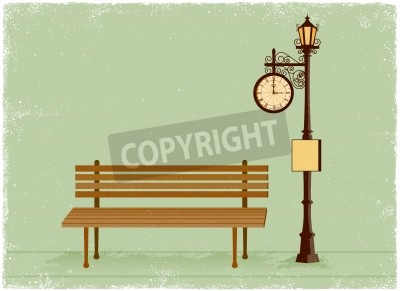 Nálepka Street clock and lamp post with park bench in vintage vector style