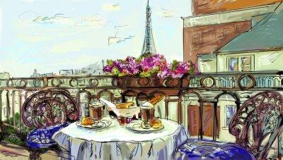 Nálepka Street v Paříži - ilustrace