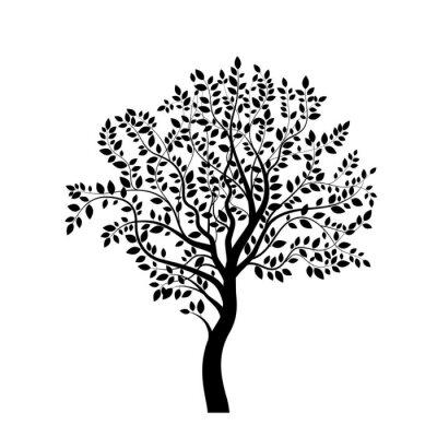 Nálepka Strom černá silueta na bílém