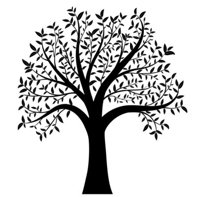 Nálepka strom s listy vektorem