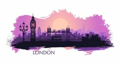 Nálepka Stylized landscape of London with big Ben, tower bridge and other attractions