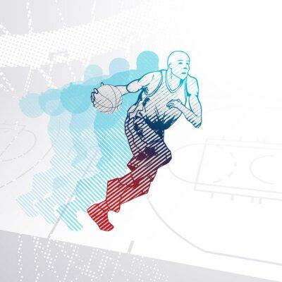 Nálepka Stylizované Basketbalový hráč driblování míčem