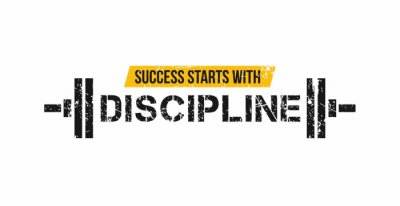 Nálepka Success starts with discipline motivational gym quote with barbell and grunge effect. Sport motivation. Gym vector design template.