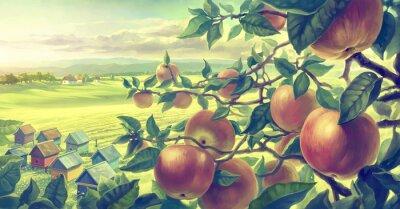 Nálepka  Summer landscape with apple branches. Digital paint.