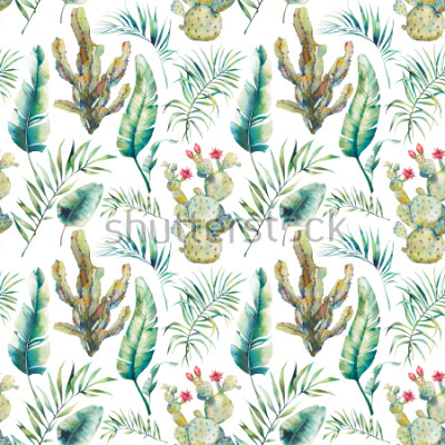 Nálepka Summer palm tree, cactus and banana leaves seamless pattern. Watercolor green branches and flowering succulent on white background. Exotic wallpaper design
