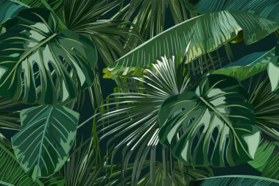 Nálepka Summer seamless pattern with tropical palm leaves. Jungle fashion print. Hawaiian background. Vector illustration