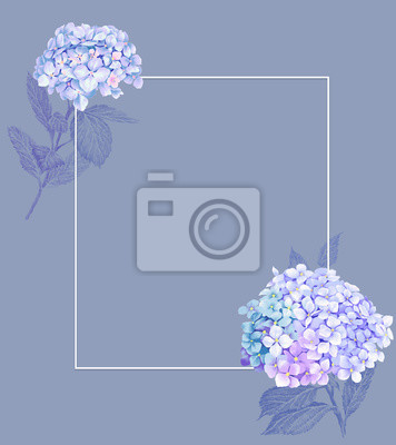 Summer Vintage Floral Greeting Card with Blooming Hydrangea.Floral template with Hydrangea flowers suitable for wedding invitation card or spring greeting card