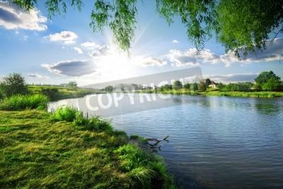 Nálepka Sunny day on a calm river in summer