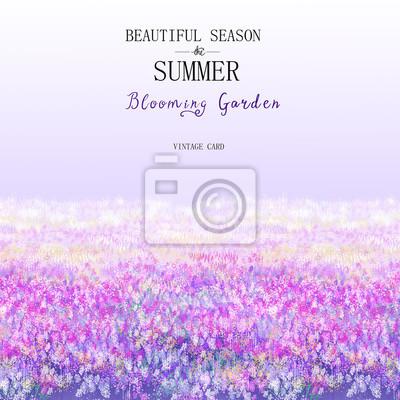 Sunny violet color flowering lavender flower plants closeup background. Square composition used.