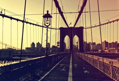 Nálepka Sunset dosvit v přední části Brooklyn Bridge