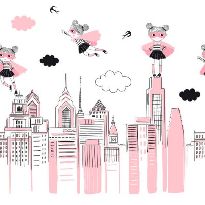Nálepka Supergirls cartoon characters in the city fly above and stand on buildings. Girlish Superhero themed seamless border pattern. Vector doodle graphics. Perfect for little girl design like t-shirt